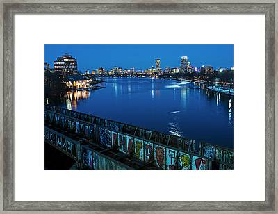 Charles River At Dusk Dewolfe Boathouse Boston Skyline Framed Print