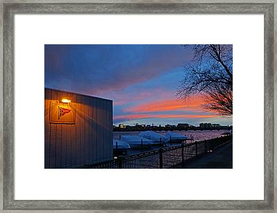 Charles River Boathouse At Sunset Boston Ma Framed Print by Toby McGuire