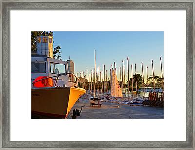 Charles River Community Boathouse Boats Framed Print by Toby McGuire