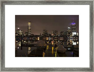 Charles River Rainy Night Clear Reflection Pier Framed Print by Toby McGuire