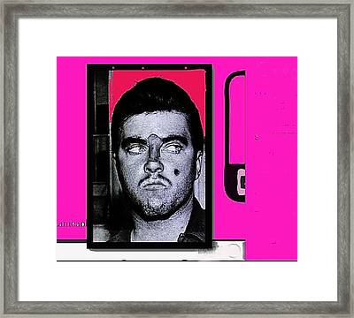 Charles Smitty Schmid Arrest Photo With Makeup Collage  Tucson Arizona 1965-2008 Framed Print by David Lee Guss