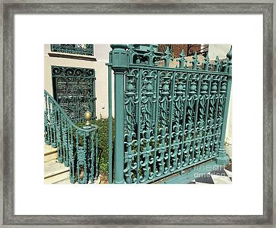 Framed Print featuring the photograph Charleston Aqua Turquoise Rod Iron Gate John Rutledge House - Charleston Historical Architecture by Kathy Fornal