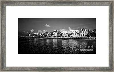 Charleston Battery Row Black And White Framed Print