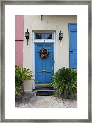 Charleston Blue Door Framed Print by Suzanne Gaff