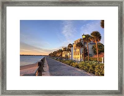Charleston East Battery Row Sunrise Framed Print