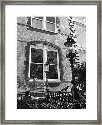 Framed Print featuring the photograph Charleston French Quarter Architecture - Window Street Lanterns Gothic French Black White Art Deco  by Kathy Fornal