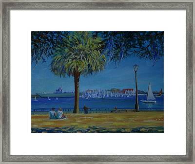 Charleston Harbor Sunday Regatta Framed Print