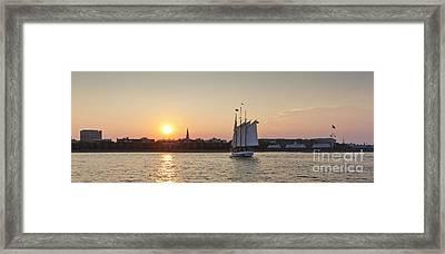 Charleston Harbor Sunset Schooner Framed Print
