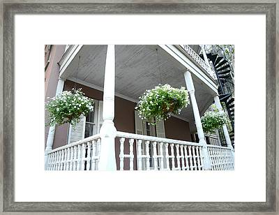 Charleston Historical District Front Porch Flowers - Charleston Homes Architecture Framed Print