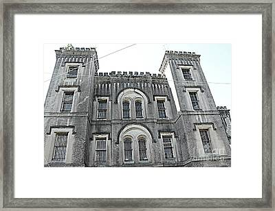 Framed Print featuring the photograph Charleston Historical Haunted Old Jail House - Charleston Old Jail Civil War Architecture  by Kathy Fornal