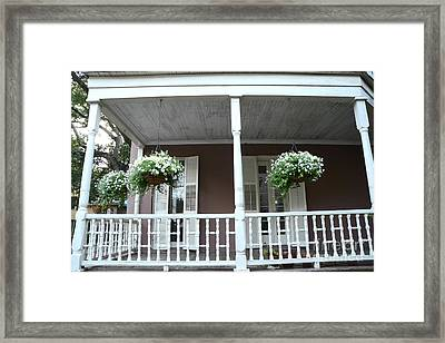 Charleston Historical Homes - Front Porches Hanging Summer Baskets Of Flowers Framed Print
