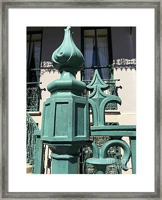 Charleston John Rutledge House Fleur De Lis Symbols - French Quarter Architecture Gate Posts Framed Print