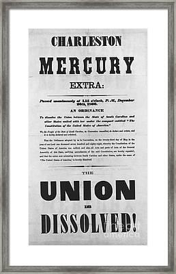 Charleston Mercury Union Dissolved Framed Print by Photo Researchers
