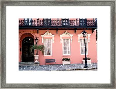 Charleston Mills House Coral Black White Architecture - Charleston Historical Homes Framed Print