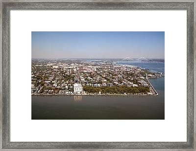 Charleston South Carolina Battery Waterfront Aerial Framed Print