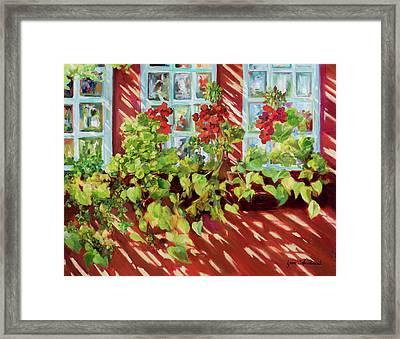 Charleston Window Boxes Framed Print