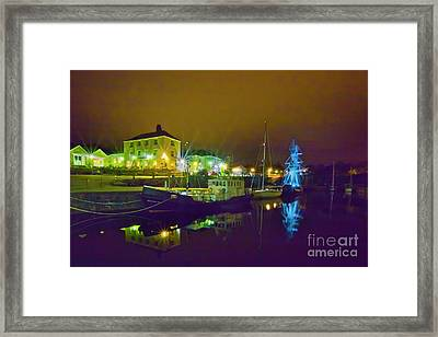 Charlestown Cornwall At Night Framed Print