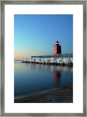 Charlevoix Harbor Light Framed Print