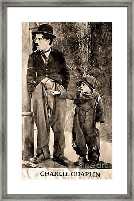 Charlie Chaplin And The Kid Framed Print