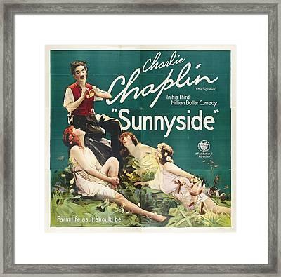 Charlie Chaplin In Sunnyside 1919 Framed Print