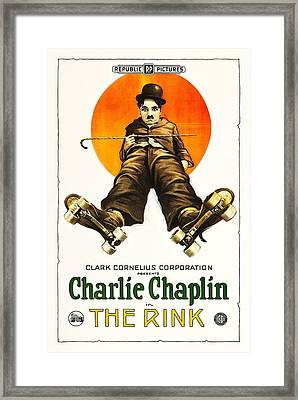 Charlie Chaplin In The Rink 1922 Framed Print
