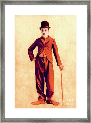 Charlie Chaplin The Tramp 20130216p68 Framed Print by Wingsdomain Art and Photography