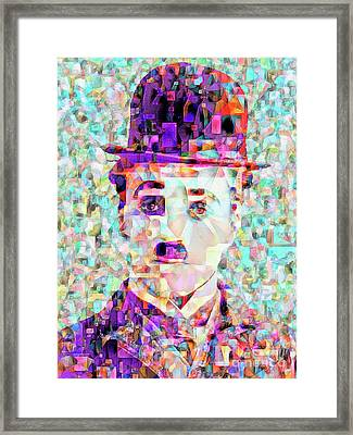 Charlie Chaplin The Tramp In Abstract Cubism 20170403 Framed Print by Wingsdomain Art and Photography