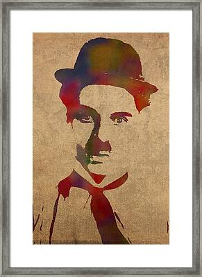 Charlie Chaplin Watercolor Portrait Silent Movie Vintage Actor On Worn Distressed Canvas Framed Print by Design Turnpike
