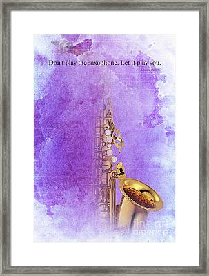 Charlie Parker Saxophone Purple Vintage Poster And Quote, Gift For Musicians Framed Print by Pablo Franchi