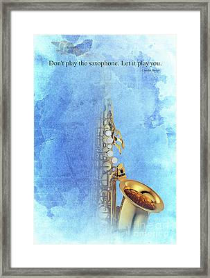 Charlie Parker Saxophone Vintage Poster And Quote, Gift For Musicians Framed Print by Pablo Franchi