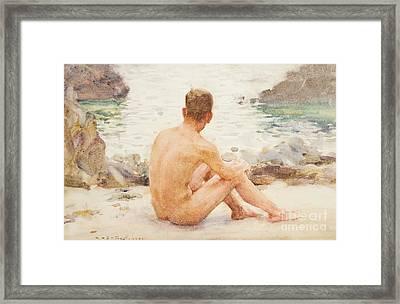 Charlie Seated On The Sand Framed Print by Henry Scott Tuke