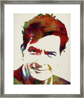 Charlie Sheen Watercolor Portrait Framed Print by Design Turnpike