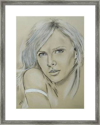 Charlize Theron Framed Print by David Briot