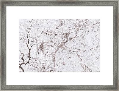 Charlotte Abstract City Map Black And White Framed Print by Frank Ramspott