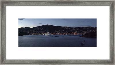 Charlotte Amalie At Dusk Framed Print by Gary Lobdell