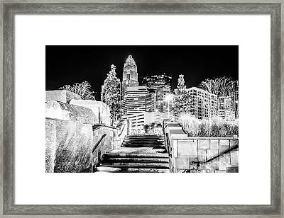 Charlotte At Night Black And White Photo Framed Print