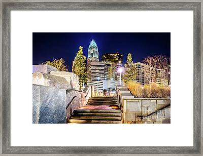 Charlotte At Night With Romare Bearden Park Framed Print