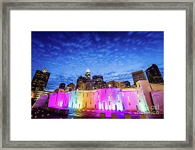 Charlotte Bearden Park Waterfall Fountain At Night Framed Print