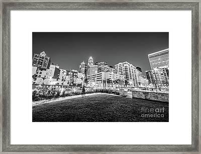 Charlotte City Black And White Photo Framed Print