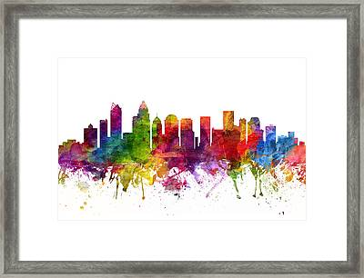 Charlotte Cityscape 06 Framed Print by Aged Pixel