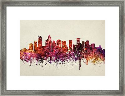 Charlotte Cityscape 09 Framed Print by Aged Pixel