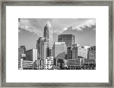 Charlotte Downtown Black And White Photo Framed Print by Paul Velgos