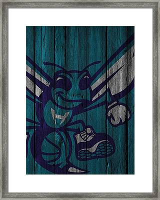 Charlotte Hornets Wood Fence Framed Print by Joe Hamilton