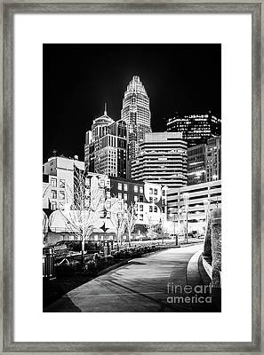 Charlotte Nc At Night Black And White Photo Framed Print by Paul Velgos