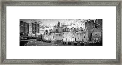 Charlotte Nc Black And White Panoramic Picture Framed Print by Paul Velgos