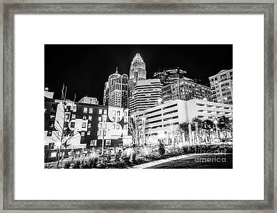 Charlotte Nc Downtown Black And White Photo Framed Print by Paul Velgos