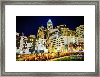 Charlotte Nc Downtown City At Night Photo Framed Print