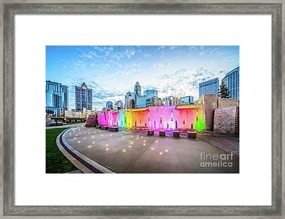 Charlotte Nc Skyline And Bearden Park At Dusk Framed Print