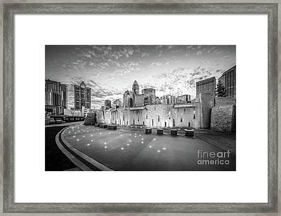 Charlotte Nc Skyline Black And White Photo Framed Print