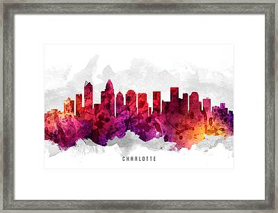 Charlotte North Carolina Cityscape 14 Framed Print by Aged Pixel